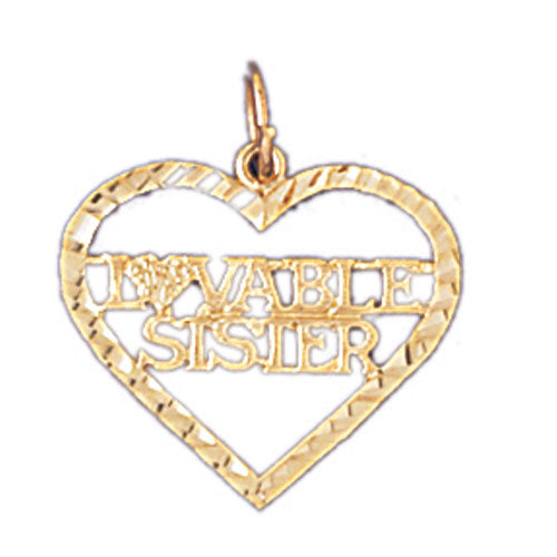 14k Yellow Gold Lovable Sister Charm