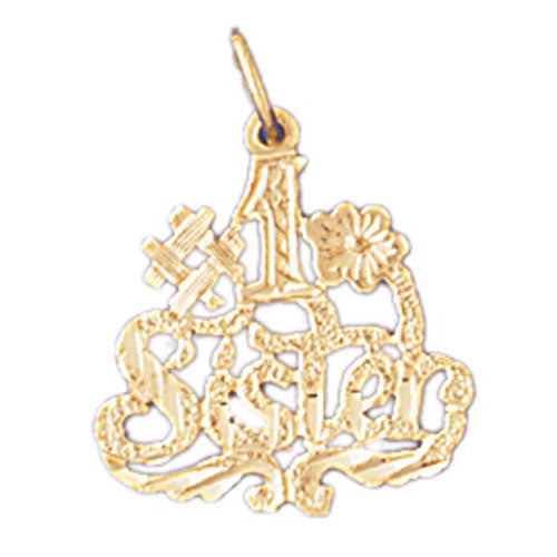 14k Yellow Gold #1 Sister Charm