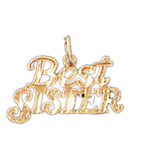 14k Yellow Gold Best Sister Charm