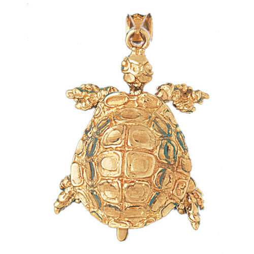 14k Yellow Gold Turtles 3-Dmoveable Charm