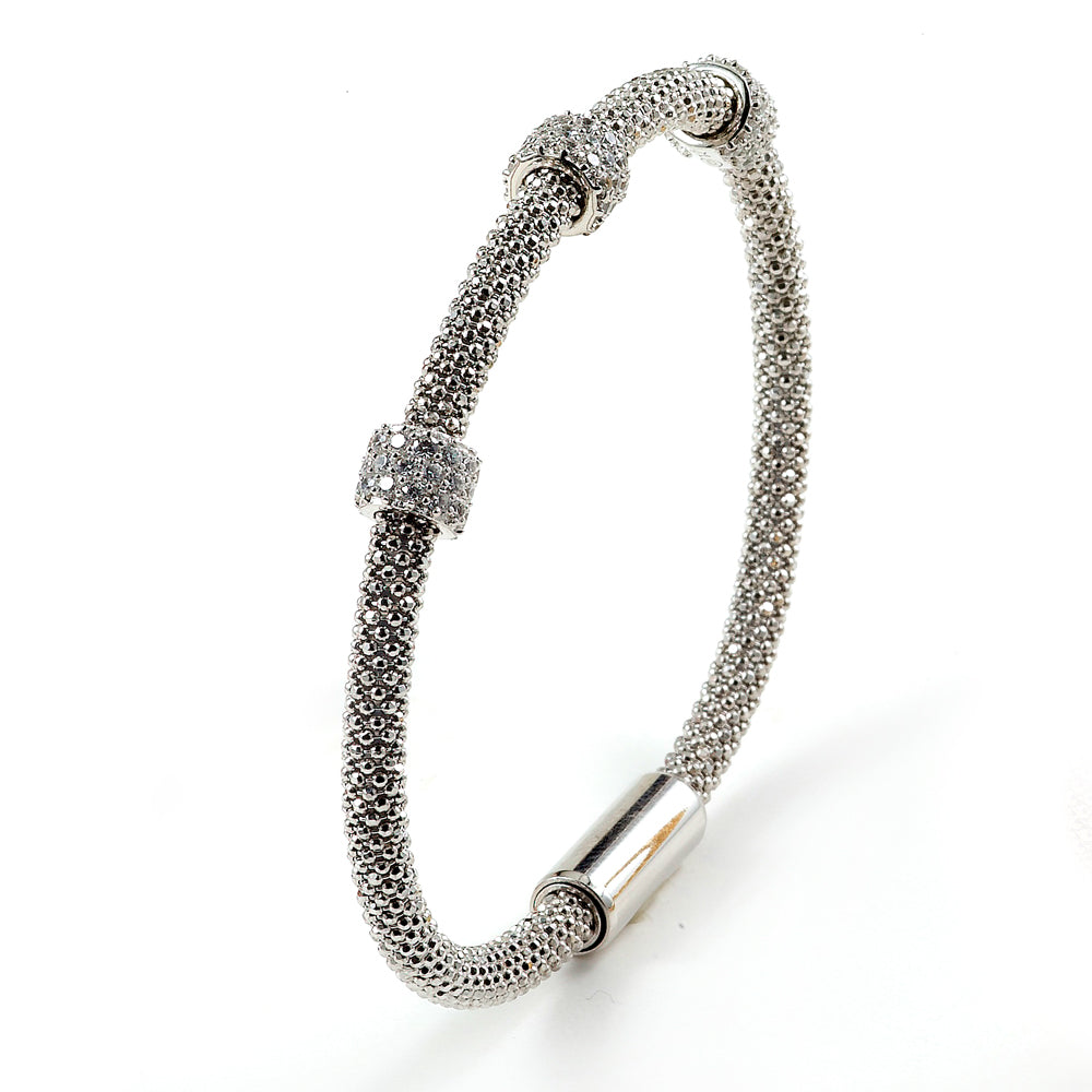 Sterling Silver Rhodium Plated and 3 CZ station Bangle