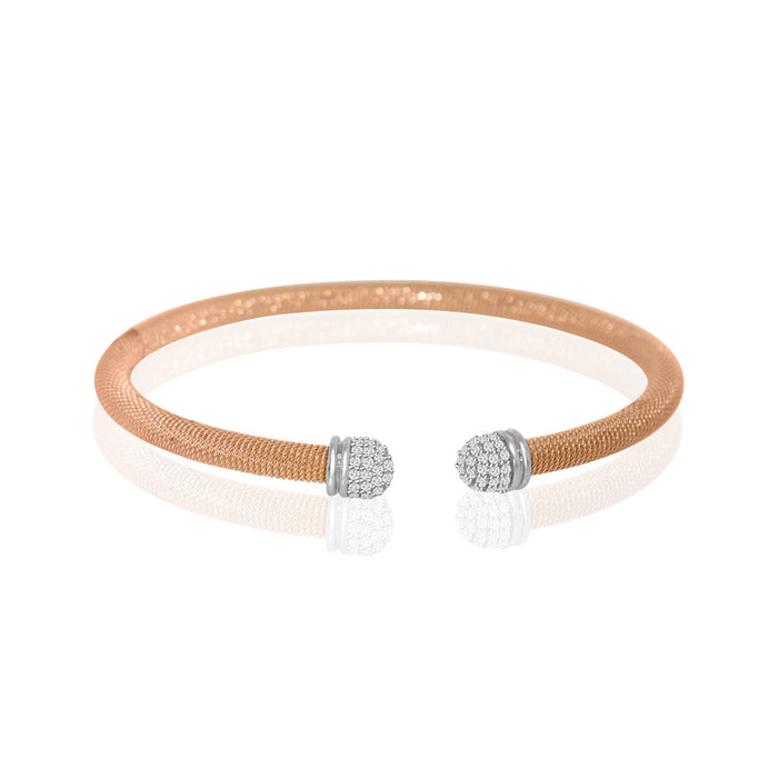 Sterling Silver Rhodium Plated and CZ Italian Bangle