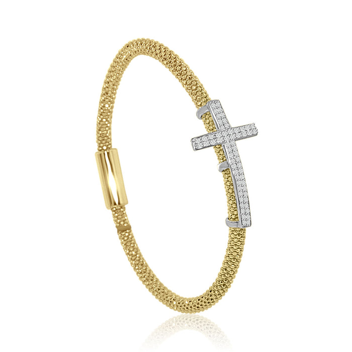 Sterling Silver Rhodium Plated and CZ Cross Italian Bangle