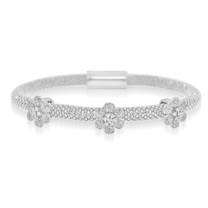 Sterling Silver Rhodium Plated and CZ 3 station Flower Bangle