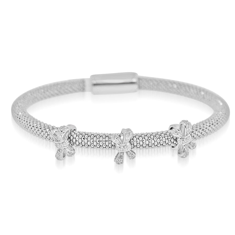 Sterling Silver Rhodium Plated and CZ 3 station Ribbon Bangle