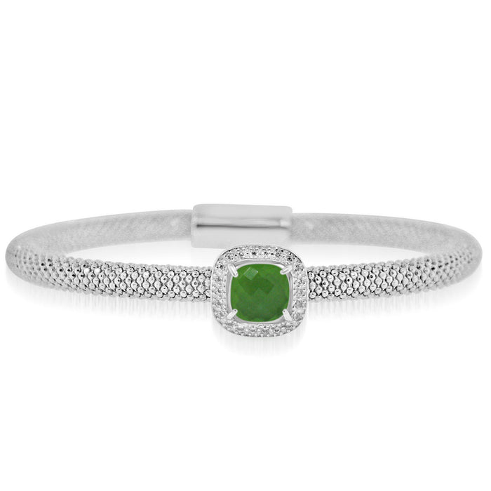 Sterling Silver Rhodium Plated with Cushion Simulated Gemstone and CZ Bangle