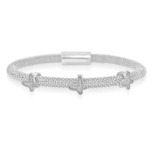 Sterling Silver Rhodium Plated with three CZ Butterfly Italian Beaded Bangle
