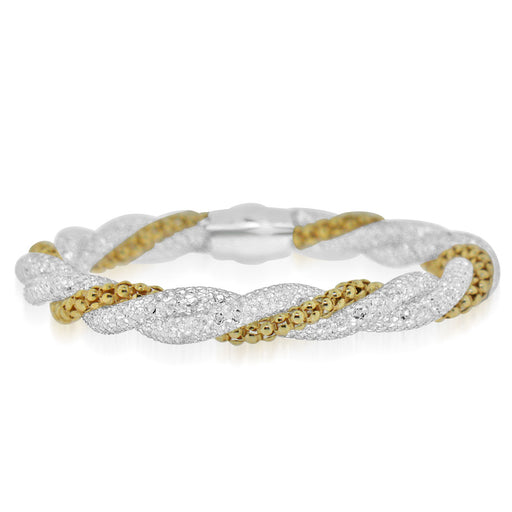 Sterling Silver Rhodium Plated with gold beads and CZ Bangle