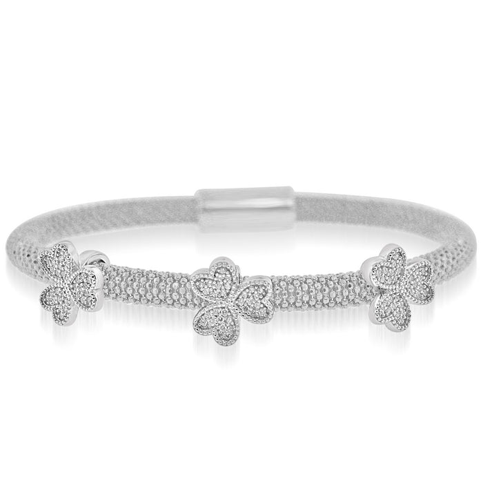 Sterling Silver Rhodium Plated and CZ 3 station Three Leaf Clover Bangle