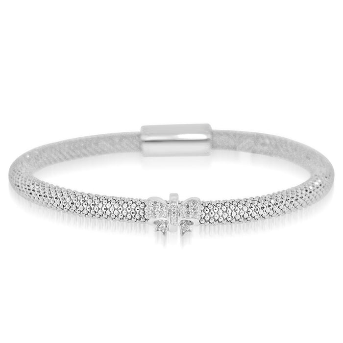 Sterling Silver Rhodium Plated and CZ 1 station Ribbon Bangle