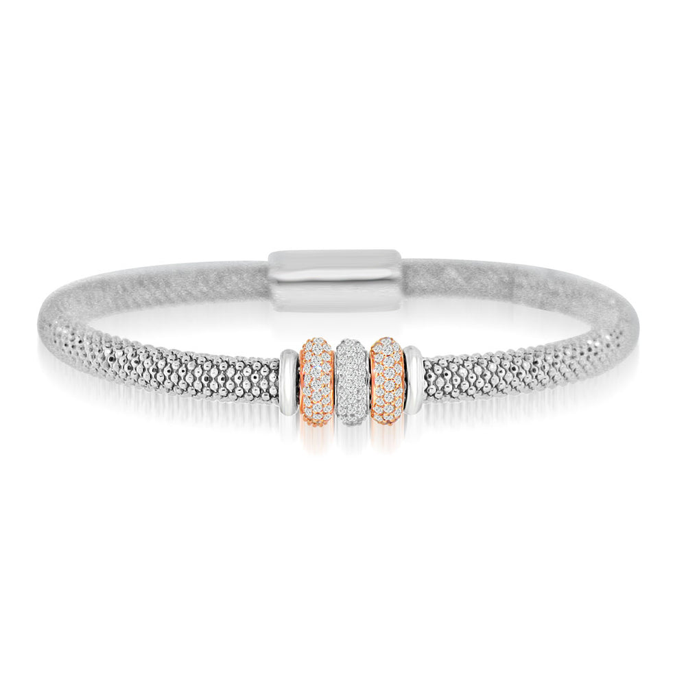 Sterling Silver Rhodium 3 CZ Disc Bangle