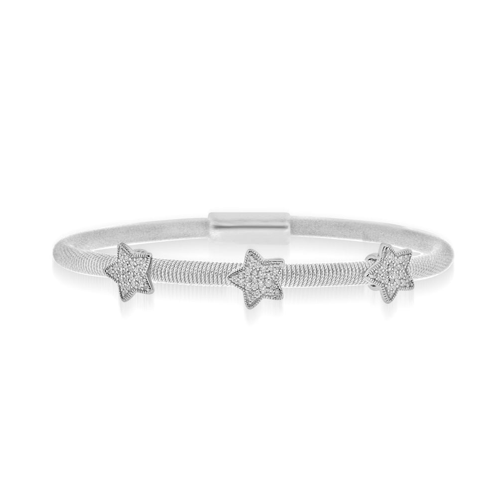 Sterling Silver Rhodium Plated and 3 station CZ Star Bangle