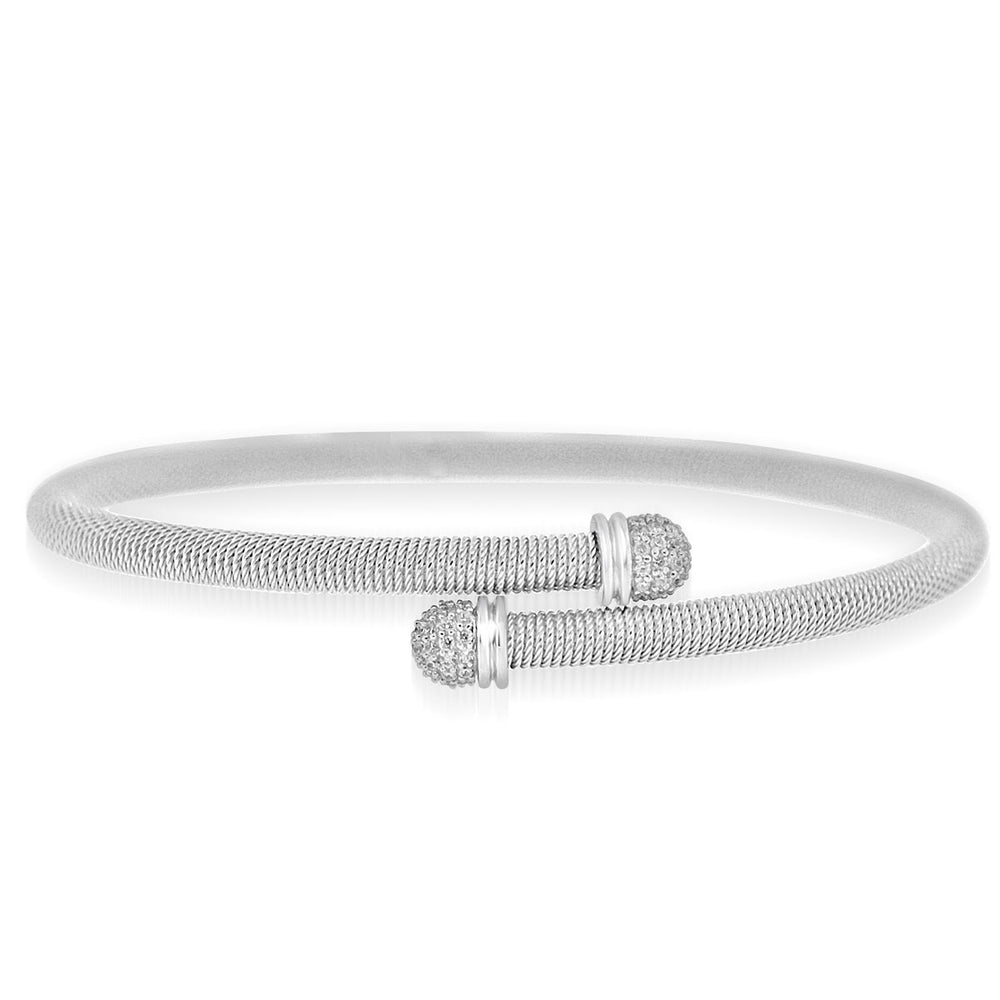 Sterling Silver Rhodium Plated and CZ tip Bangle