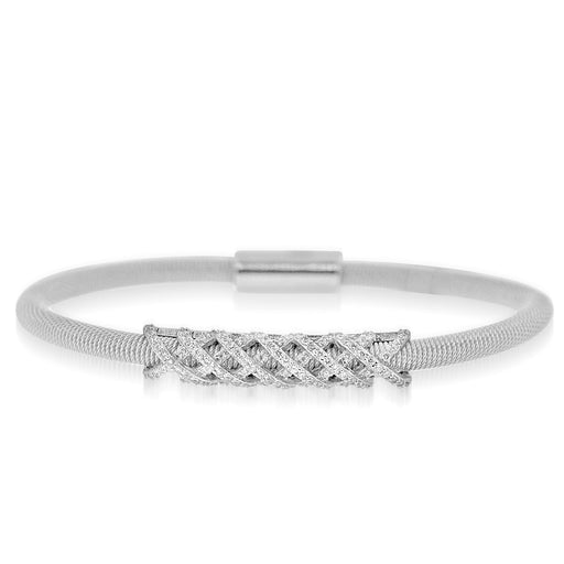 Sterling Silver Rhodium Plated and Criss Cross CZ Bar Bangle