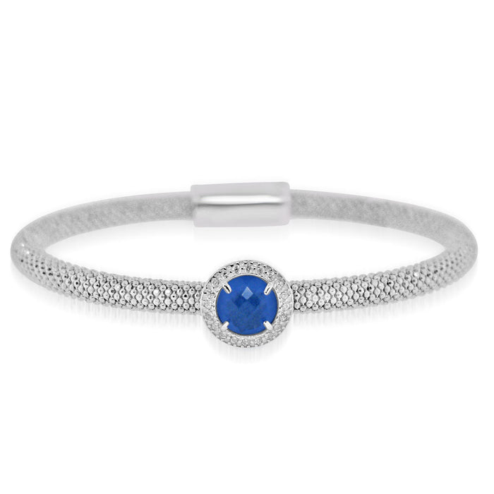 Sterling Silver Rhodium Plated with Round Simulated Gemstone and CZ Bangle