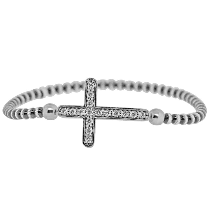 Sterling Silver Rhodium Plated and Large CZ Cross Stretchy Bracelet