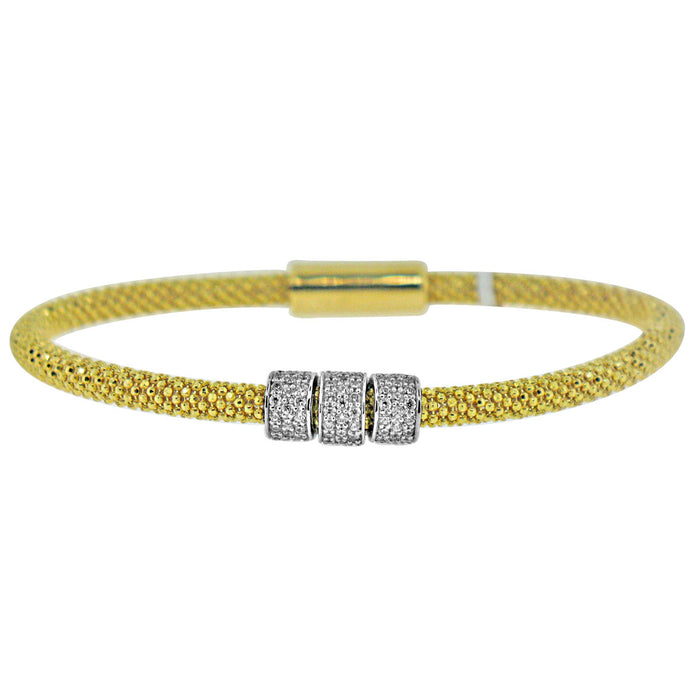 Sterling Silver Rhodium Plated and CZ Italian Mesh Bangle