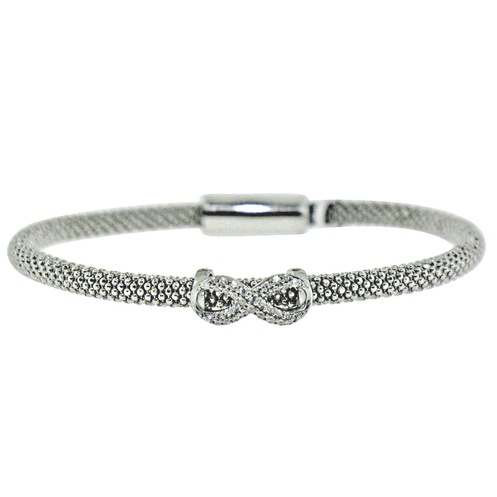 Sterling Silver Rhodium Plated with CZ Infinity Mesh Italian Bangle