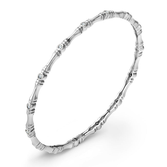 Sterling Silver and bezel set CZ Bangle