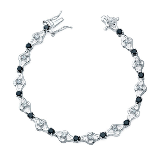 Sterling Silver Rhodium Plated Black Bracelet