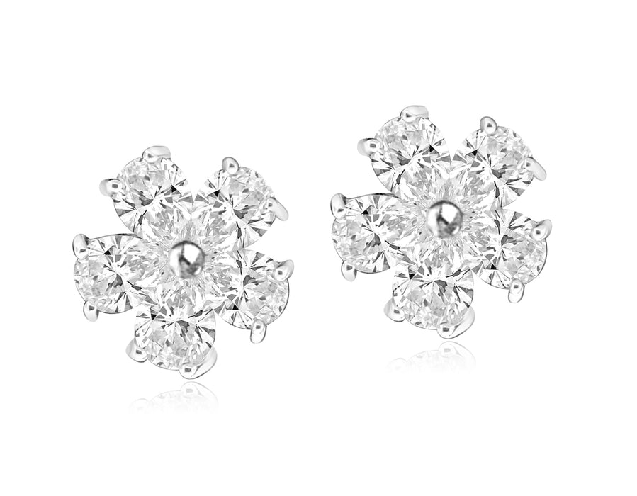 Sterling Silver Rhodium Plated and CZ Flower Stud Earrings