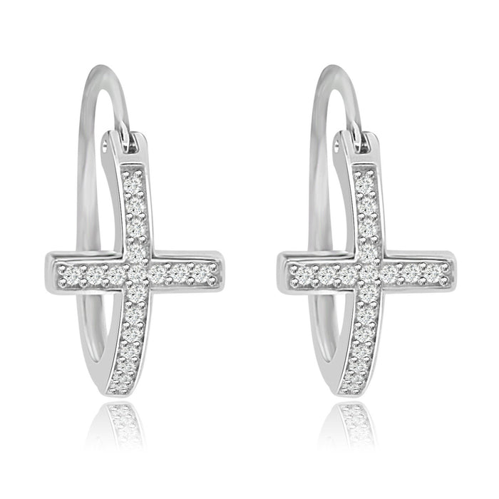 Sterling Silver Rhodium Plated and CZ Cross Hoop Earrings