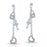 Sterling Silver Rhodium Plated and CZ Key To My Heart Dangle Earrings