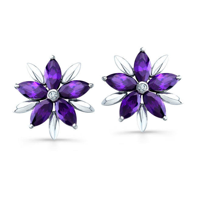 Sterling Silver Rhodium Plated with Simulated Amethyst and CZ Earrings