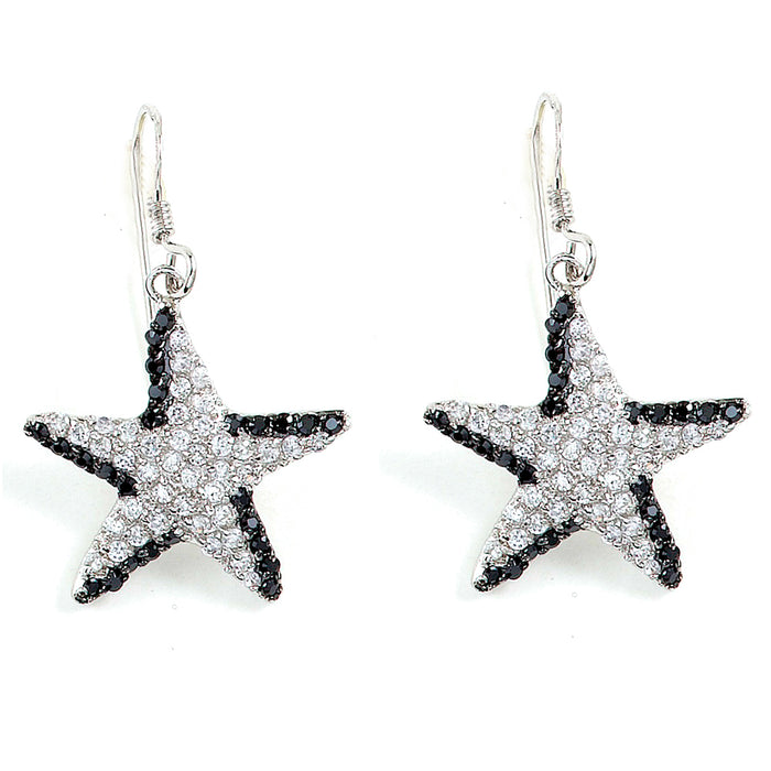 Sterling Silver Rhodium Plated with Black and White CZ Earrings