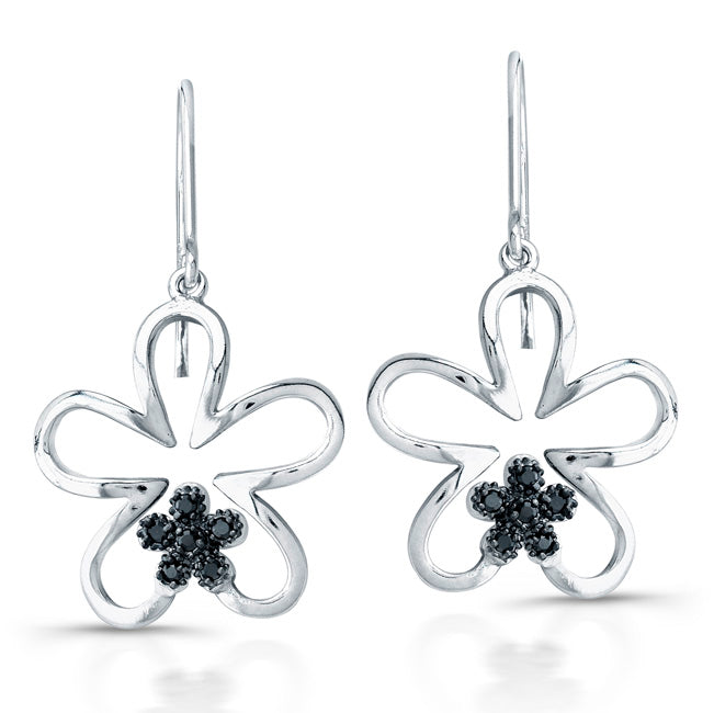 Sterling Silver Rhodium Plated with Black CZ Earrings