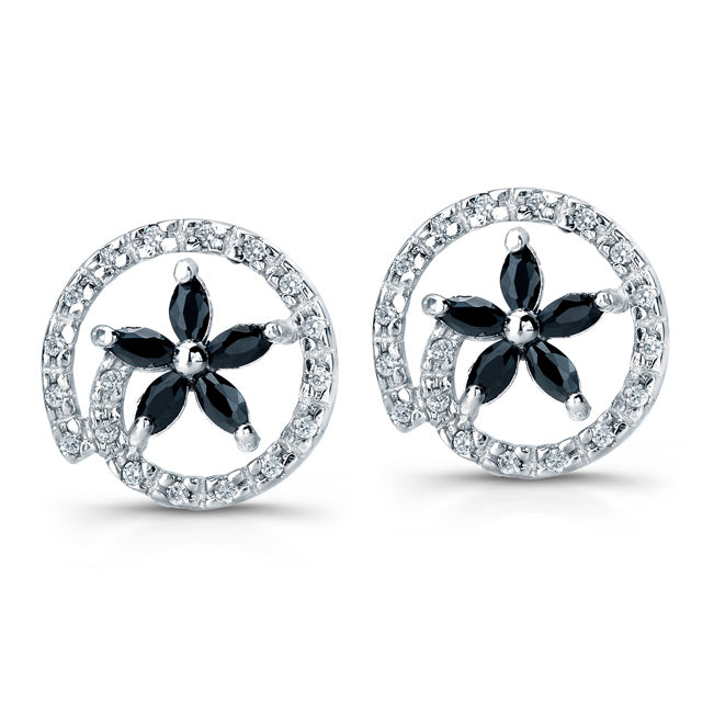 Sterling Silver Rhodium Plated with Black CZ Flower Earrings