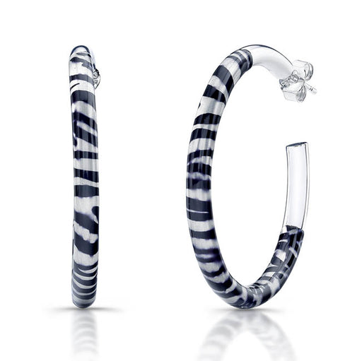 Sterling Silver Rhodium Plated with Black and White Enameled Hoop Earrings