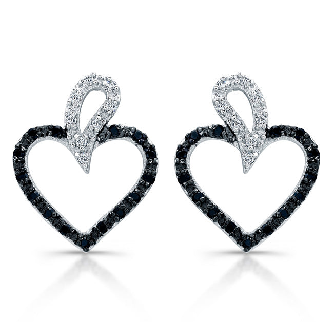 Sterling Silver Rhodium Plated with Black and White CZ Heart Earrings