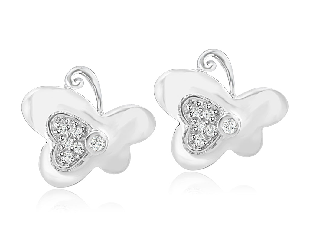 Sterling Silver Rhodium Plated and CZ Butterfly Earrings