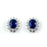 Sterling Silver Rhodium Plated with Simulated Sapphire and CZ Stud Earrings