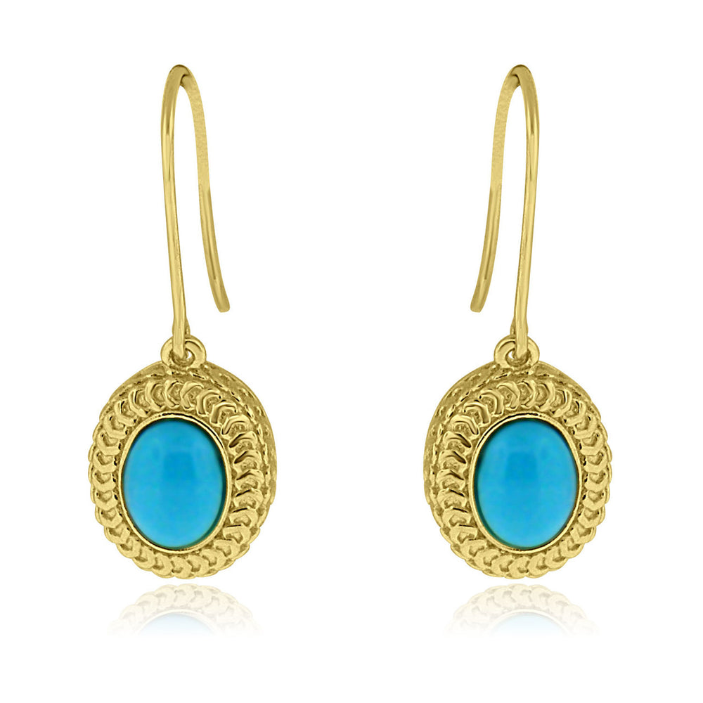 Sterling Silver Gold Plated with Simulated Turquoise Dangle Earrings