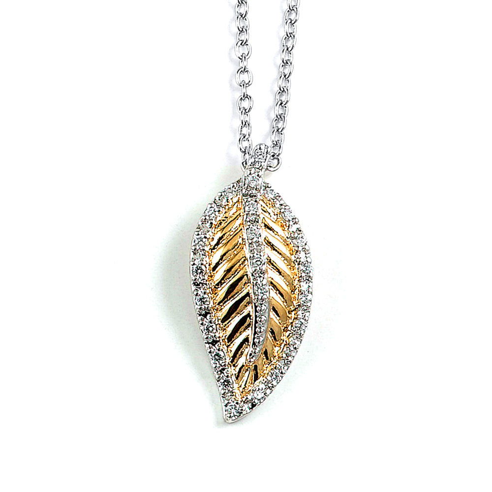 Sterling Silver Rhodium Plated and CZ Leaf Necklace