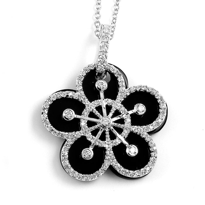 Sterling Silver Rhodium Plated with Black Enameled and CZ Flower Necklace