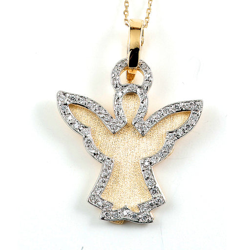 Sterling Silver Gold Plated and CZ Angel Necklace