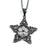 Sterling Silver Black Rhodium Plated and CZ Flower Necklace