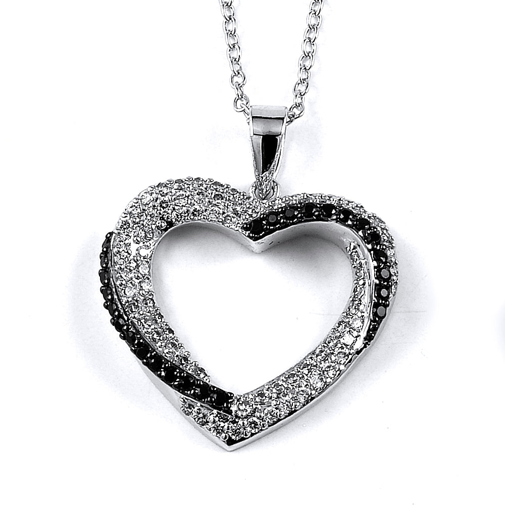 Sterling Silver Rhodium Plated with Black and White CZ Heart Necklace