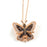 Sterling Silver Rose Gold Plated with Black and White CZ Butterfly Necklace