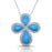 Sterling Silver Rhodium Plated and Turquoise Enameled Necklace