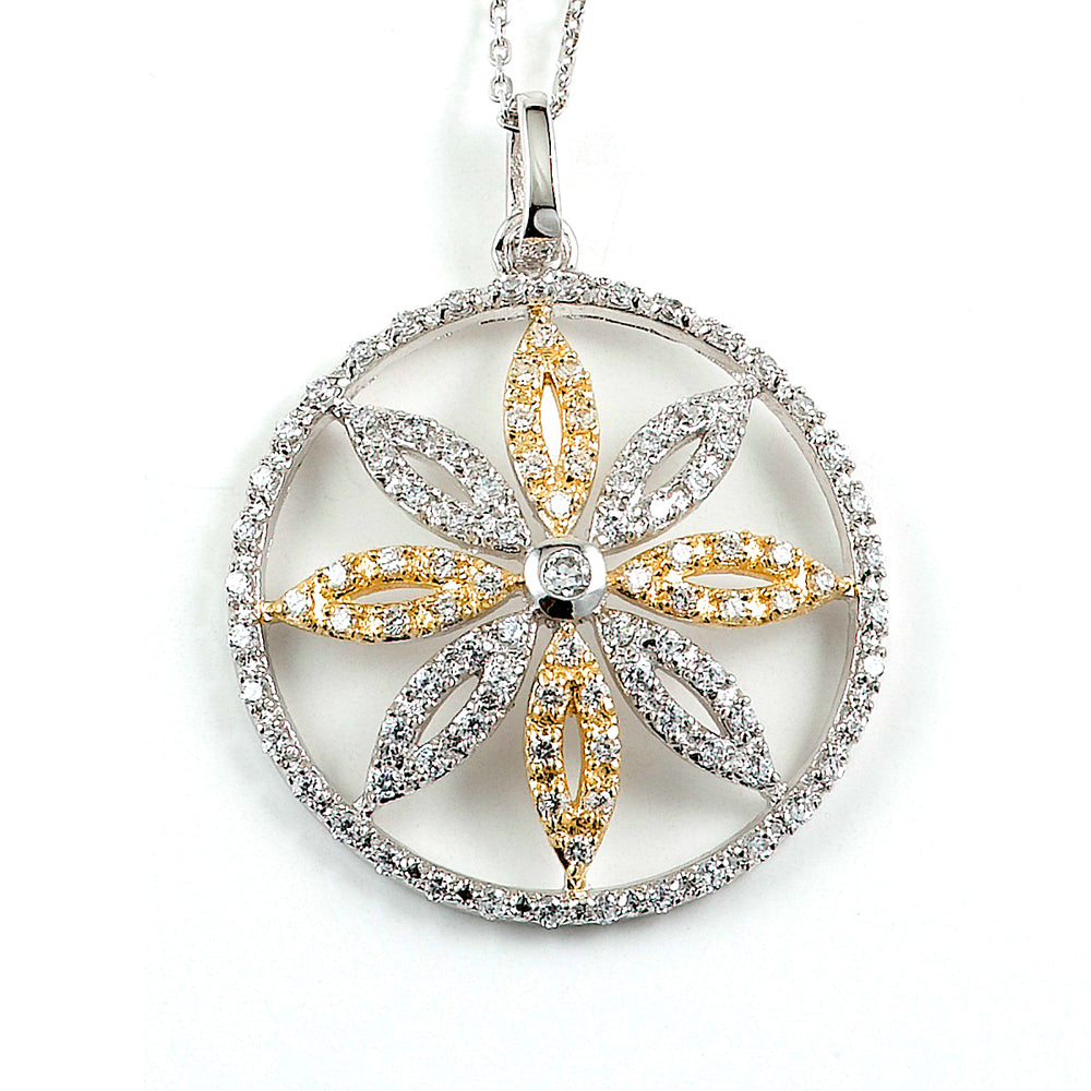 Sterling Silver Rhodium and Gold Plated and CZ Flower Necklace