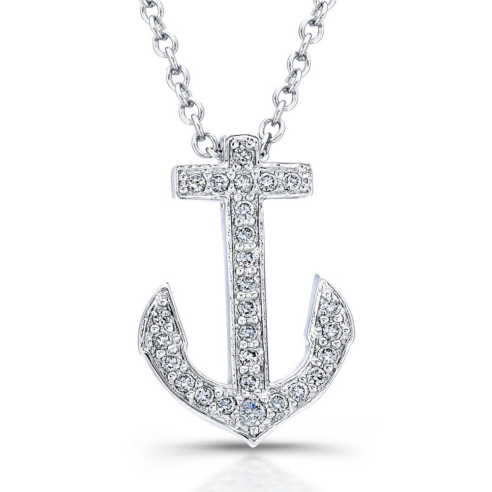 Sterling Silver Rhodium Plated and CZ Anchor Necklace
