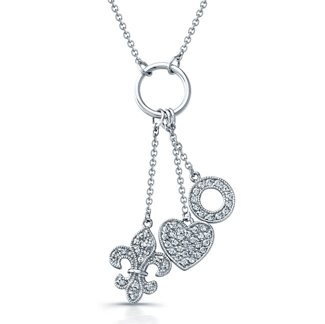 Sterling Silver Rhodium Plated and CZ Fleur De Lis, Heart, and Circle Necklace