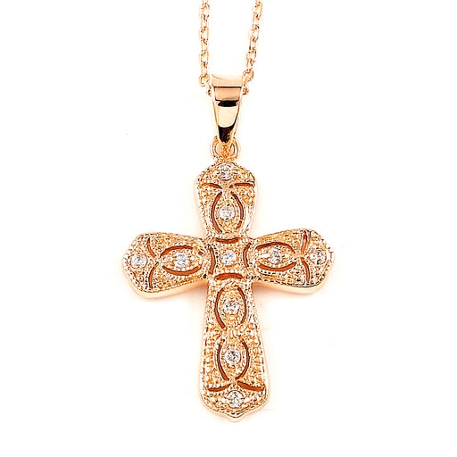 Sterling Silver Rhodium Plated and Pink CZ Cross Necklace