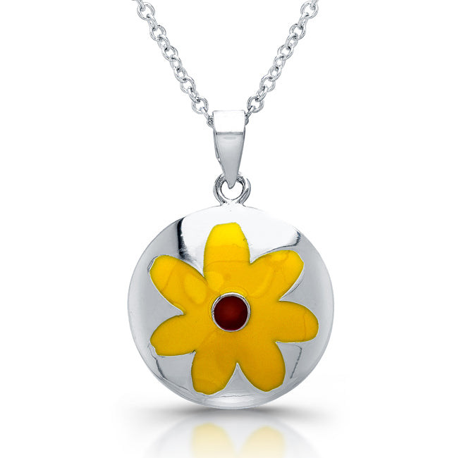 Sterling Silver Rhodium Plated Yellow Flower Necklace