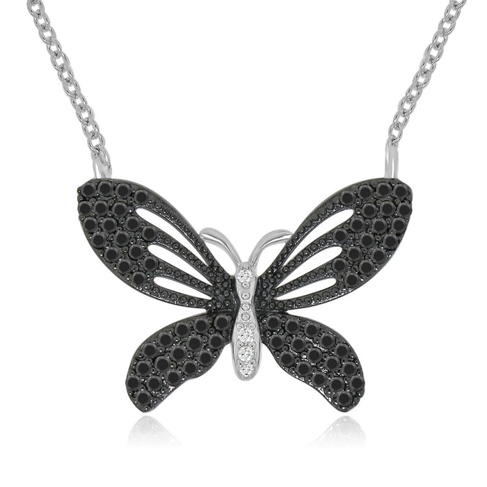 Sterling Silver Rhodium Plated with Black and White Cz Butterfly Necklace
