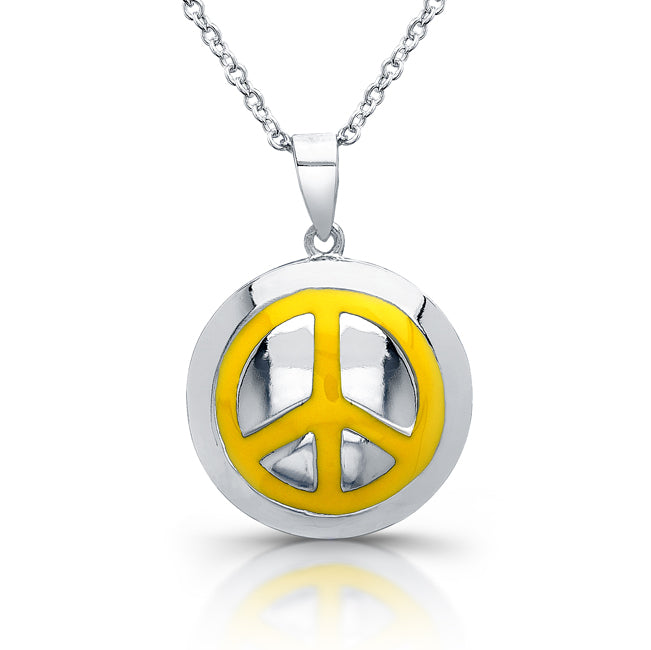 Sterling Silver Rhodium Plated with Enameled Peace Necklace